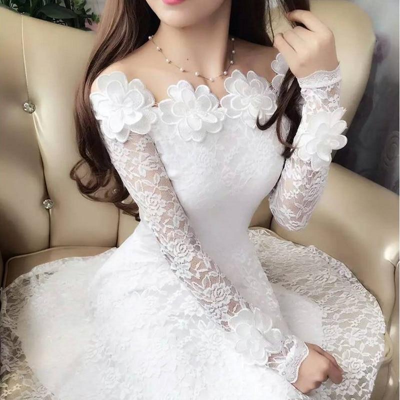2018 Spring Summer Women Dresses Sexy Slash Neck Floral Lace Dress Female High Waist Long Sleeve A-Line Dress Party Vestidos 821