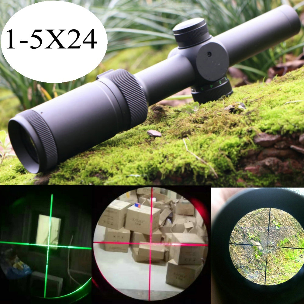 1-5X24 Riflescope Red And Green Illuminated Reticle Actical Optical Sight Second Focal Plane Hunting Scope Tactical Riflescopes