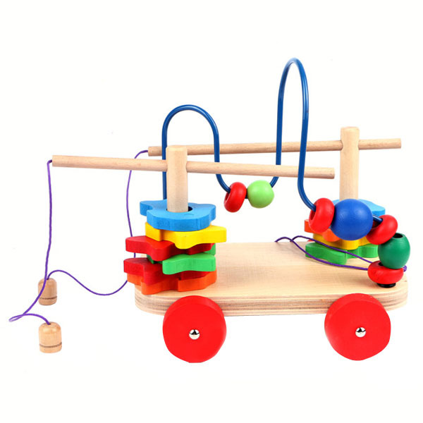 A29 Baby Kids Children Colorful Wooden Around Beads Educational Game Toy Mini VBE78 T14 0.5