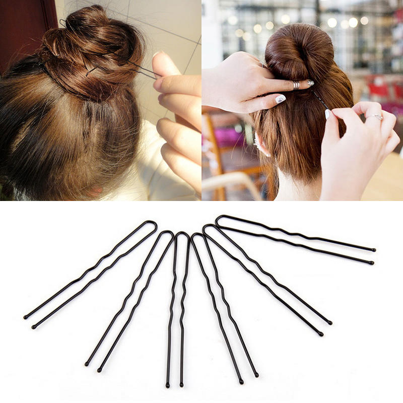 Sale 20PCS 50pcs Black Hair Waved U-shaped Pin Grip Clip For Women Girls Hairpins bride Plate hair Free Shipping