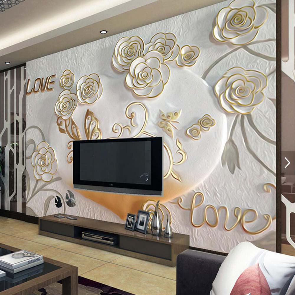 Embossed rose butterfly mural photo wallpaper living room for Butterfly mural wallpaper