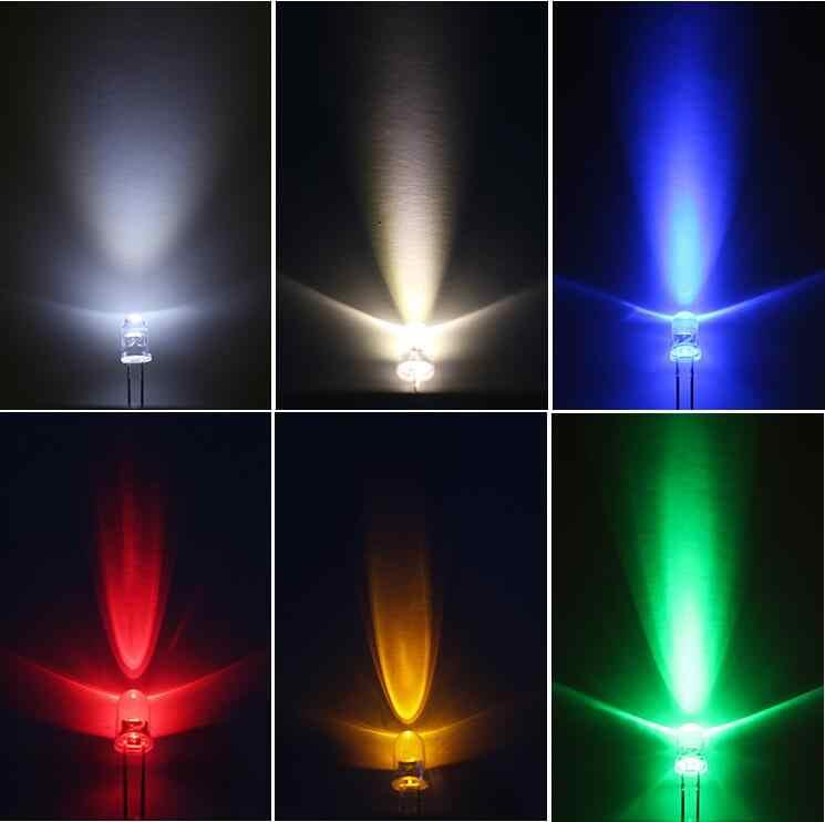 100 قطع x طويل الساق 5 ملليمتر الدافئة الأبيض الأحمر اليشم الأخضر الأزرق الأصفر الوردي الأرجواني 7 اللون فلاش المياه واضحة جدا مشرق LED ضوء الخرز