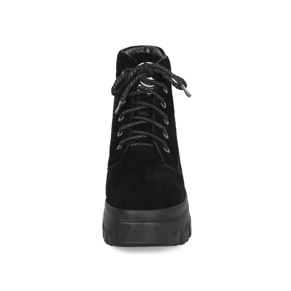 33 piatto Big inverno nero Cow scarpe pelle tacchi pelliccia alti il Natural scamosciata donna cunei di lacci sneakers in ragazze Doratasia per Size 43 axEqFcdawv