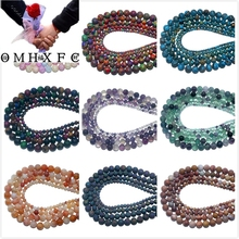OMH Wholesale 4 6 8 10 MM Stone Agates Crystal Jades Tiger Eye Volcanic rocks Beads  Jewelry Making Diy Necklace Bracelet ZZ12