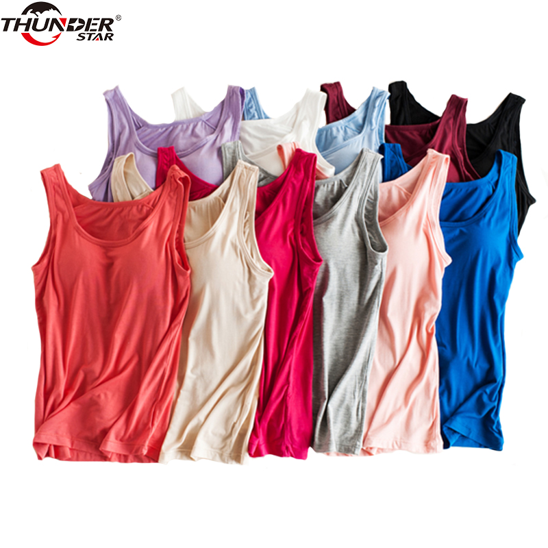 319d195aae3 Vrouwen Ingebouwde Bh Padded Tank Top Vrouwelijke Modale Ademend Fitness  Hemdje Tops Solid Push Up Bh Vest Blusas Femininas