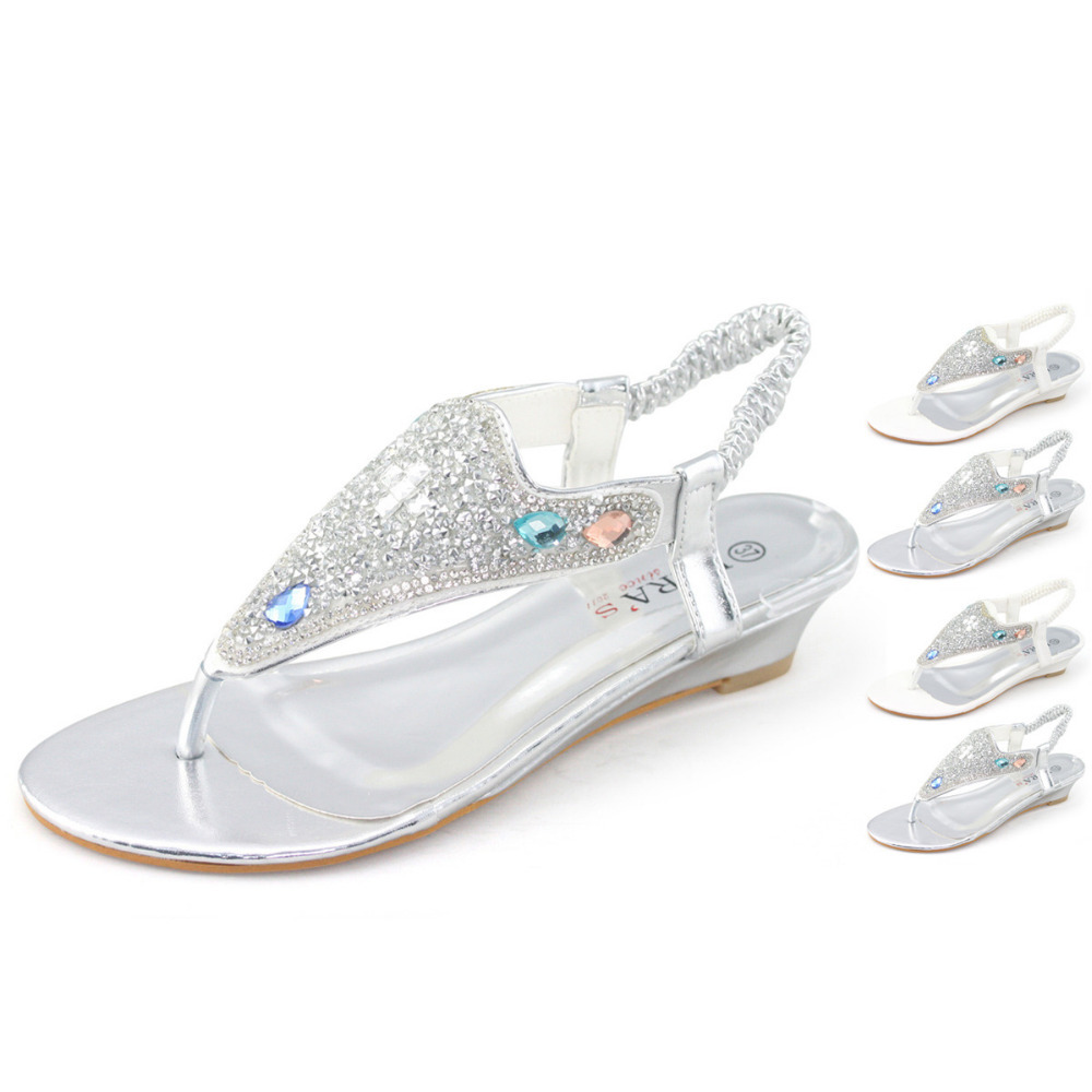 479039ddc7762 LARAs Brand white silver rhinestone low kitten wedge heel strappy t bar sandal  shoes woman wedding prom party diamante small-in Women's Sandals from Shoes  ...