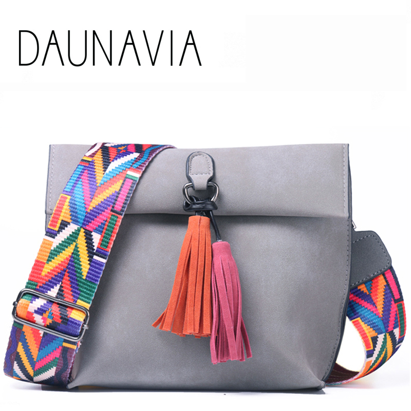 DAUNAVIA Women Leather bags Designer Tassel Crossbody Bag With Colorful Strap Shoulder Bag Female Handbags women messenger bags 2017 national embroidery bags women leather shoulder bag lady college crossbody bag colorful strap girls messenger bags school