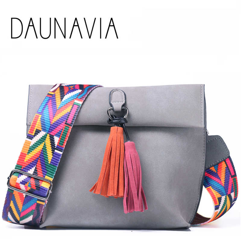 735d1e74d6b1 Detail Feedback Questions about DAUNAVIA Women Leather bags Designer Tassel  Crossbody Bag With Colorful Strap Shoulder Bag Female Handbags women  messenger ...
