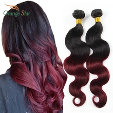 "4Bundles Brazilian Ombre Hair Extensions Body Wave Two Tone Human Hair Weft 10""-30""  Cheveux Tissage Ombre Hair Weave MB403"