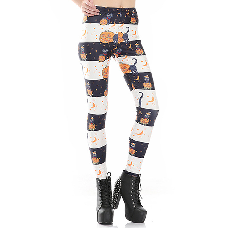 New Arrival 3590 Sexy Girl Halloween Black cat Jack O Lantern Printed Elastic Fitness Polyester Workout Women Leggings Pants