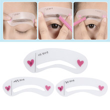 ELECOOL 2 Sets/6 Pcs Reusable Eyebrow Guide Cards 3 Styles Eyebrow Template Makeup Tools Eyebrow Template DIY PVC Make Up Card(China)