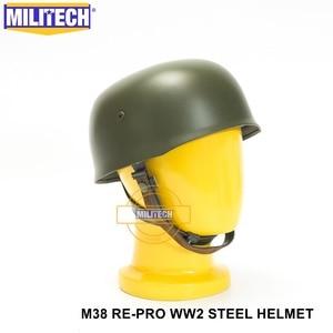 Image 4 - MILITECH OD WW2 German M38 Steel Helmet WW II M38 Green German Paratroop Helmet Genuine Leather World War 2 German M38 Helmet
