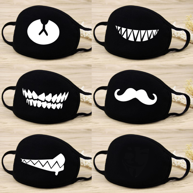 1 Pcs Cotton Masks Keep Warm Cartoon Funny patten Face Mouth Mask Unisex banquet party Mouth Muffle Respirator black 12 Style 2
