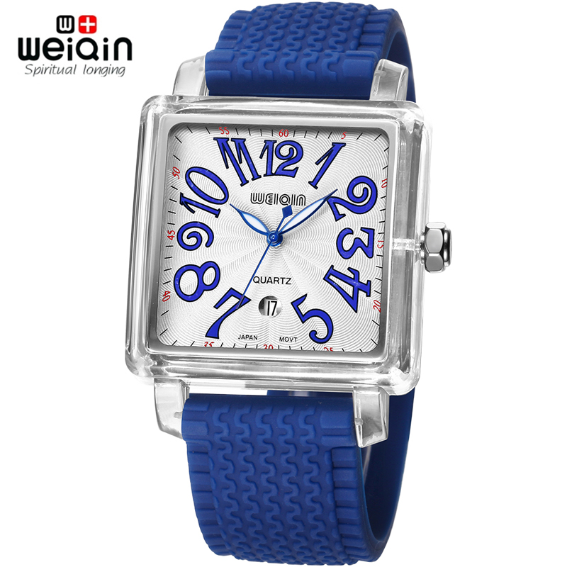 WEIQIN Square Dial Arabic Number Scale Fashion Silicone Strap Watch Men Women Wristwatch Stainless Steel Case Relogio Masculino
