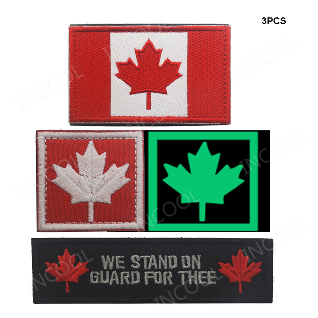 US $7 19 20% OFF 1 SET Canada Flag Canadian Maple Leaf Embroidery Patches  Military Morale Patch Tactical Emblem Applique Embroidered Badges Flags-in