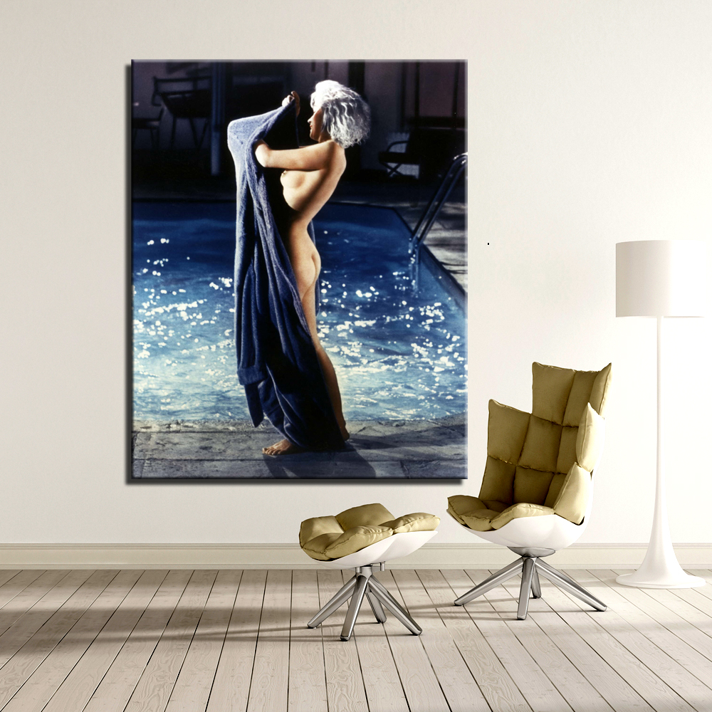 WALL ART CANVAS HOME DECOR MARILYN MONROE OIL PAINTING <font><b>PHOTOGRAPHY</b></font> PICTURES <font><b>NUDE</b></font> PAINTING SEXY MONROE <font><b>THE</b></font> PAINTINGS UNFRAMED