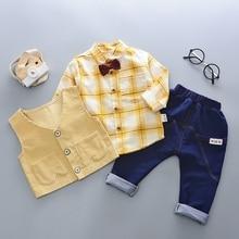 Autumn Baby Clohting Sets Plaid Bowtie Lapel Collar Boys Shirt + Denim Jeans Pant + Waistcoat Kids Children's 3Pcs Suits