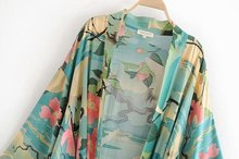 Green Vintage Retro Night Garde Print Boho maxi Kimono Shirt Sleeve Cardigan bohemian long Wrap blouse Summer Tops Beachwear