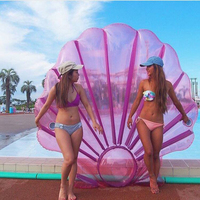 150*140CM Giant Pink Inflatable Shell Pool Float 2018 New Summer Water Air Lounger For Women Clamshell With Pearl Scallop Broad