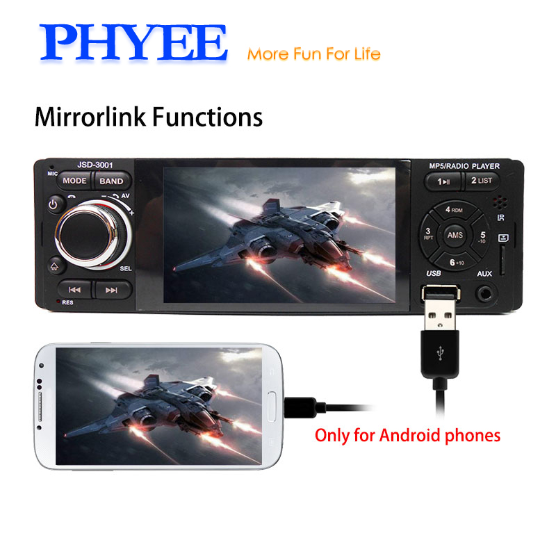 1 Din Bluetooth Car Radio Autoradio Touchscreen Auto Stereo Video MP5 Player Mirrorlink USB TF Aux-in ISO Head Unit PHYEE 3001 fixed panel 1 din bluetooth autoradio car mp3 player usb auto radio stereo indash head unit iso connectror sx 33000by
