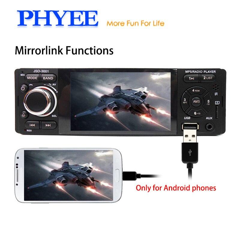 PHYEE 1 Din Touch Screen Autoradio Bluetooth Radio Auto Stereo Car MP5 MP4 Player Mirrorlink USB SD ISO Remotes SWC 3001