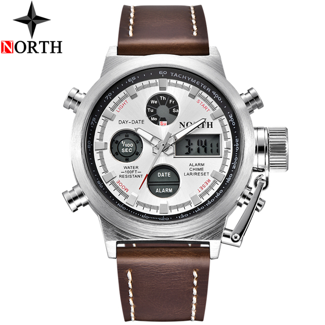 North Mens Watches Top Brand Luxury Quartz Military Watches Men Leather Sports LED Digital Electronic Watch Relogio Masculino 4