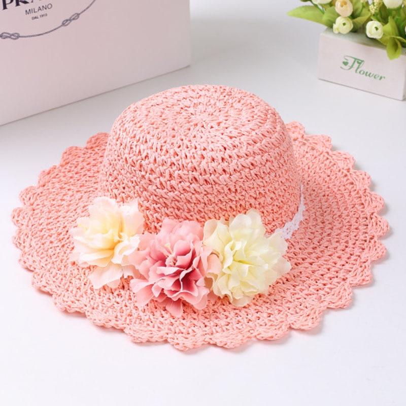 Модная летняя стильная цветная Цветочная широкополая пляжная шляпа с широкими полями для маленьких девочек, соломенная шляпа от солнца, 9 цветов