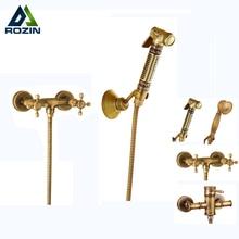 Wall Mounted Brass Bidet Mixer Faucet Toilet Sprayer Tap Antique Bathroom Mop Cleaning Tap Handheld Shower Set