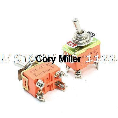 2PCS AC 250V 15A 4 Pins 2 Position On/Off DPST Self Locking Toggle Switch2PCS AC 250V 15A 4 Pins 2 Position On/Off DPST Self Locking Toggle Switch
