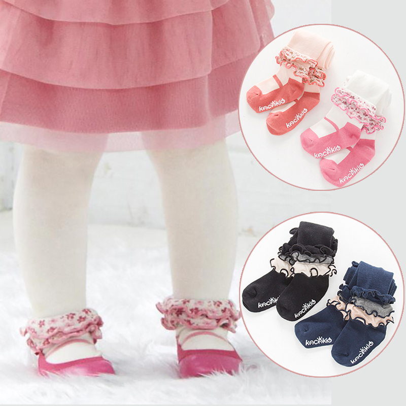 Cute Baby Girl Tights Lace Baby Meisje Pantyhose Princess Dancing Tights Winter Spring Cotton Toddler Infant Tights Stocking