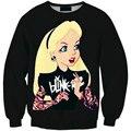 Hot Sale 2016 Fashion Cartoon Girl 3D Character Sweatshirts Printed Sweatshirt Men/Women Harajuku Hoodies Colegial Clothing