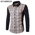 New brand Men Plaid Shirts Long Sleeve Cotton Male Casual Shirt Slim Fit Formal Business Dress Shirts High Quality Men Clothing
