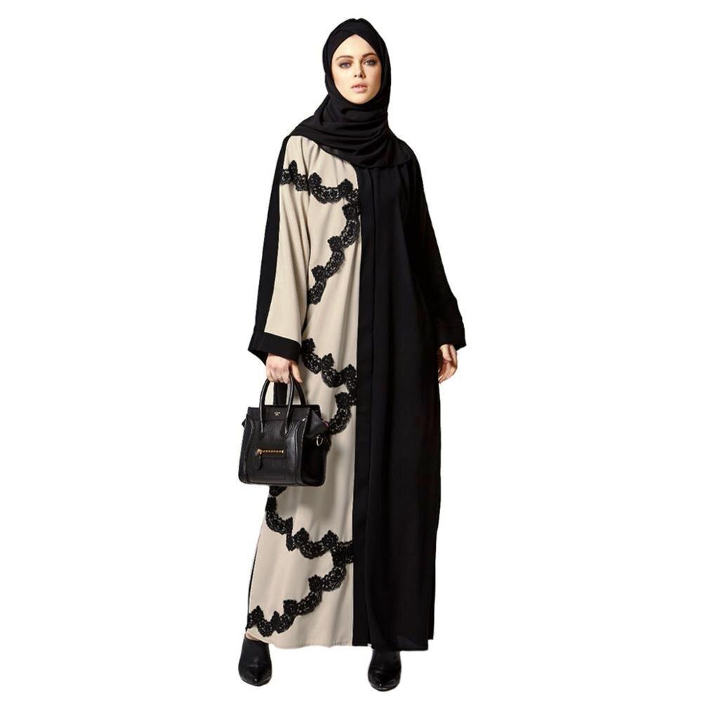 Abaya 2019 Muslim Dress Femme Abaya Dubai Lace Long Dress Moroccan Kaftan Islam Clothes Middle East Turkey Clothing WomenSL1114