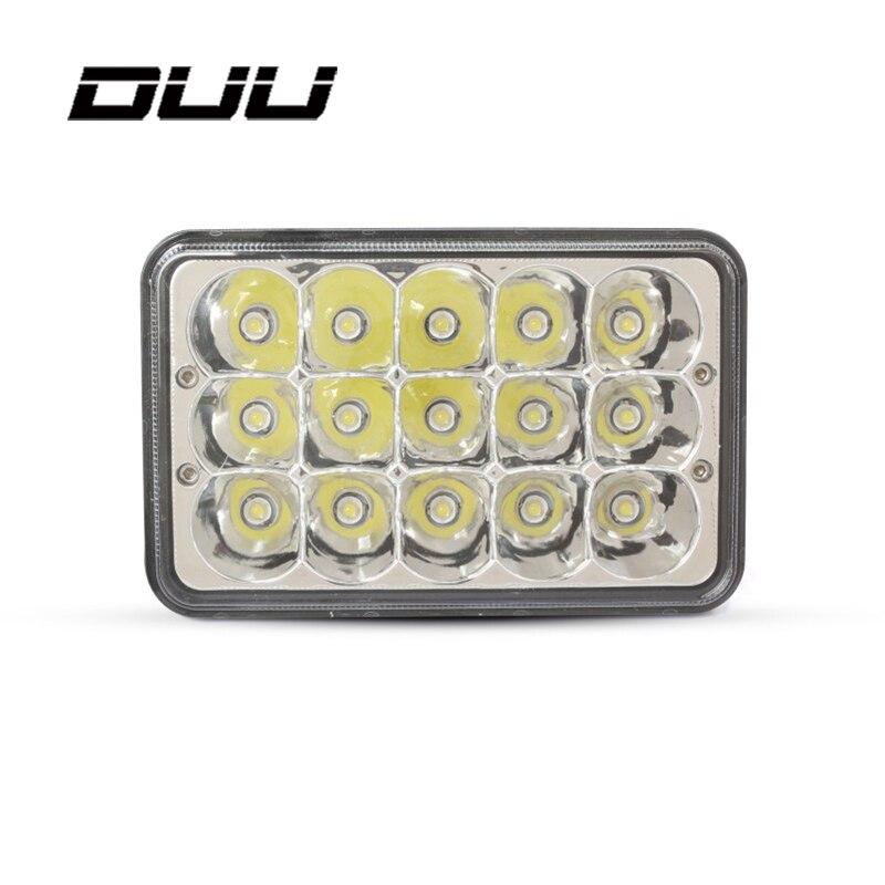 DUU Work Light Bar Hi Low Beam 45W Crystal LED Headlight Led Driving Light Square Headlampwork light Sealed Beam Replacements H7