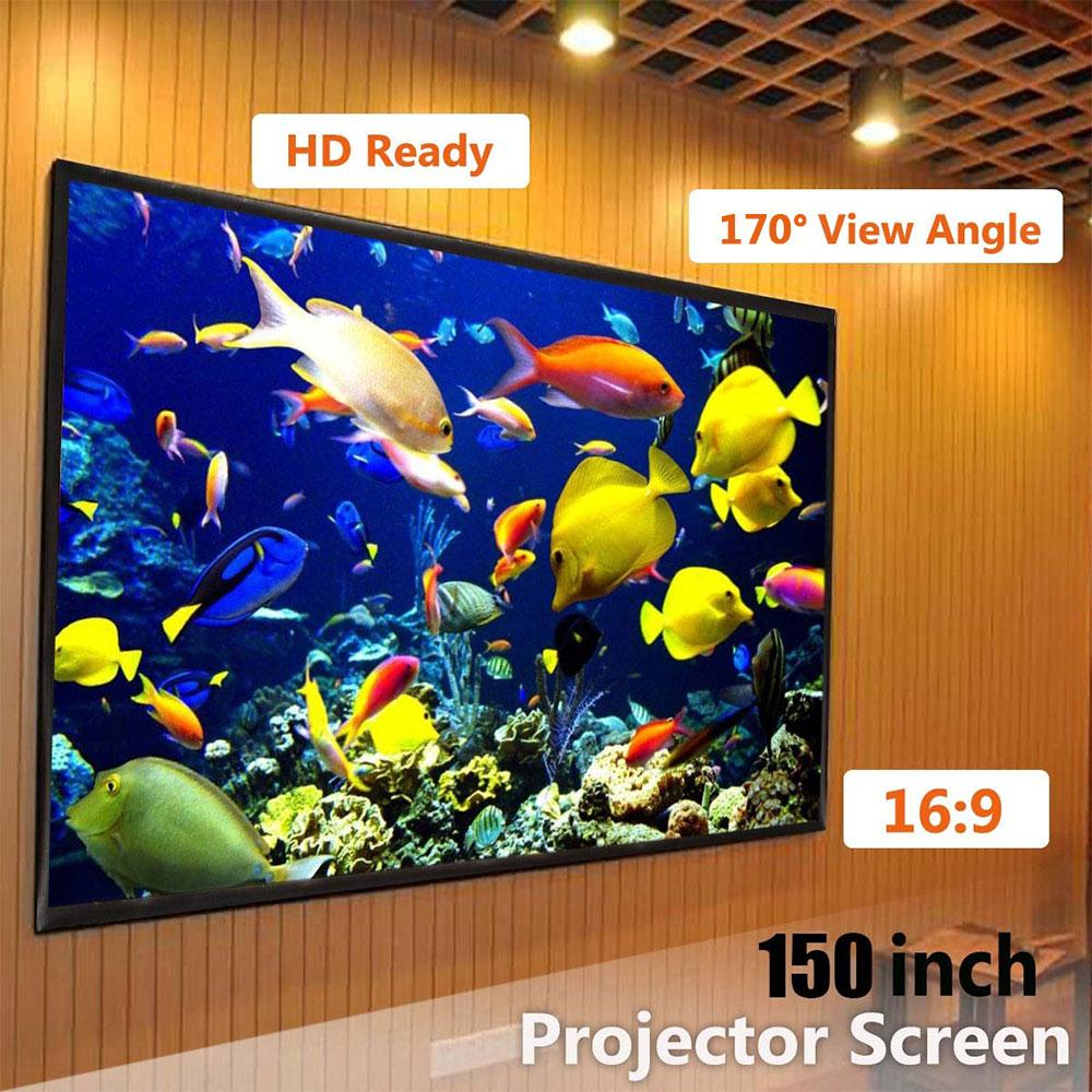 Foldable 16:9 Projector 60 72 84 100 120 150 inch White Projection Screen For HD Projector Home Theater Cinema Movies Party 5
