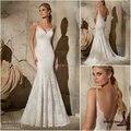 2017 Sexy V-neck Backless Apliques Longos Vestidos de Casamento Do Laço Da Sereia Frisada Correias Tribunal Trem Vestidos de Casamento vestido de Noiva