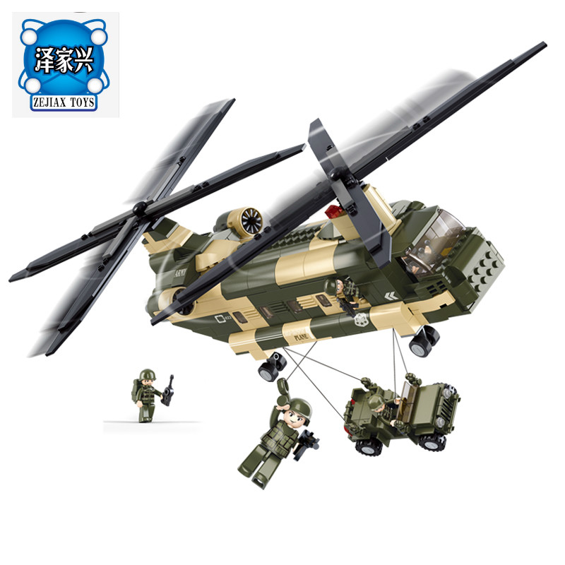 Sluban 0508 Transport Ch-47 Military Air Force Helicopter Building Model Building Blocks Bricks Figures Toys Compatible Lepins