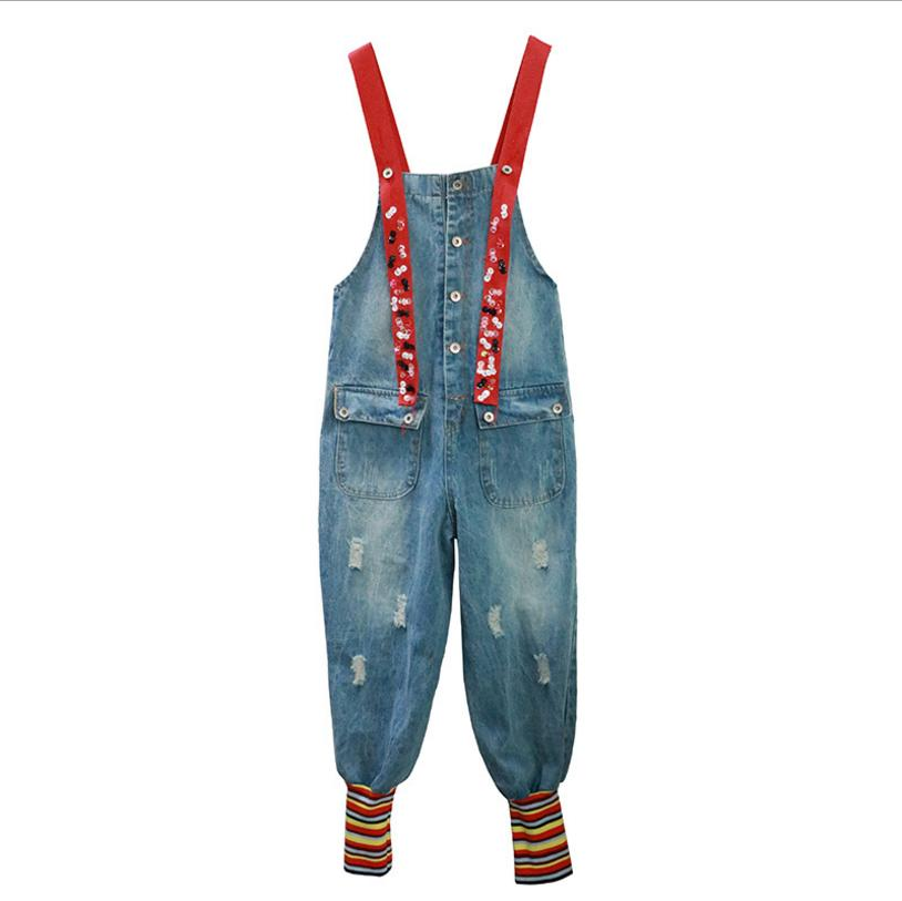 Summer New Thailand Fashion Brand Rainbow Sequins Strap Jeans Playsuits female Loose Red Strap street style denim jumsuits L212