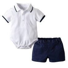 Summer 2019 baby boy clothes  Short Sleeve Shirt + pant shool Uniform Baby Set Infantil Menina Clothes For Boys