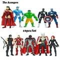 Disney 10 unids/lote Los Vengadores capit o am rica 4in Marvel Capitán América Thor Hawkeye iron Man figuras de acción conjunto AD156-3