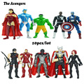 Disney 10pcs/lot The Avengers capit o am rica Marvel 4in Captain American Thor Hawkeye iron Man  action figures set AD156-3