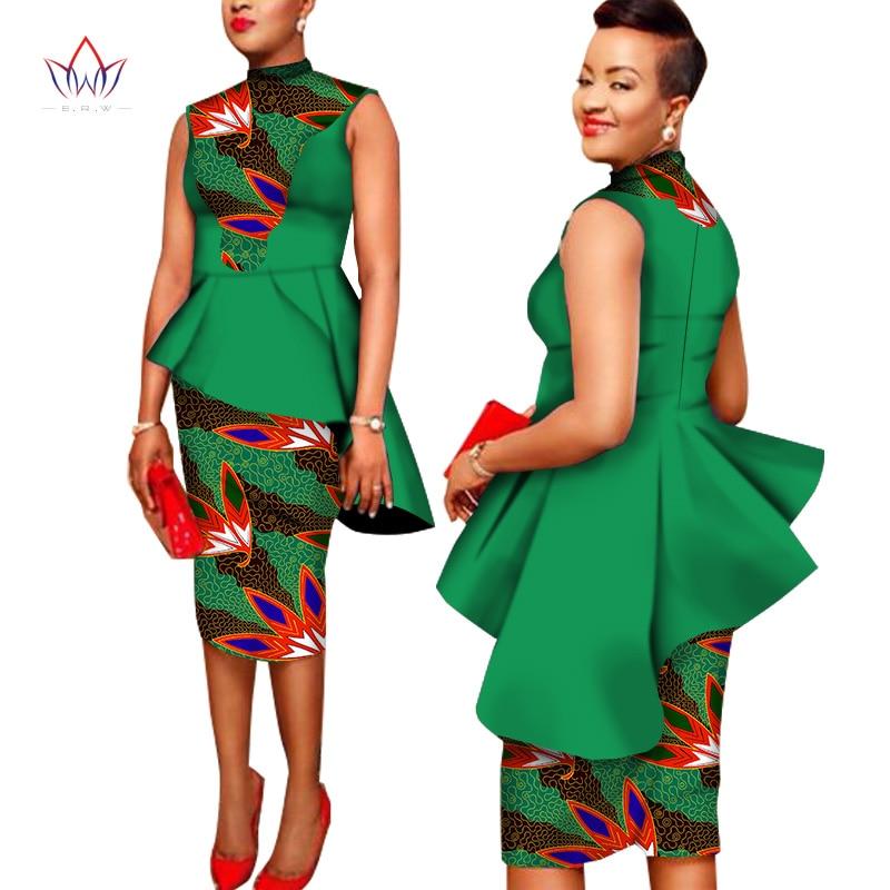 Kohandatud Aafrika riietus 2 tükki komplekt Prindi vaha mantli ülemine ja seelikomplekt Dashiki komplekti ülikonnad naiste lühikesed seelikud 6XL BRW WY1366