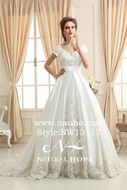 Elegant Lace Covered High Waist Wedding Dress With Short Sleeves Princess Style