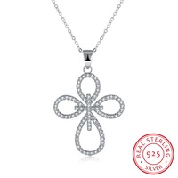 2017 Hot Sale 925 Sterling Silver Cross Pendant Necklace With Zircon Woman Jewelry Fashion New Design