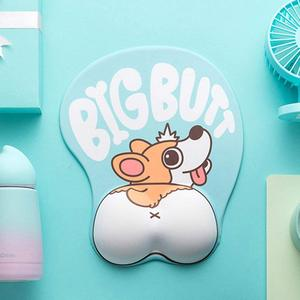 Image 3 - 귀여운 코기 개 3d 마우스 패드 인체 공학적 소프트 실리콘 젤 애니메이션 마우스 패드 손목 지원 마우스 매트 소녀 선물