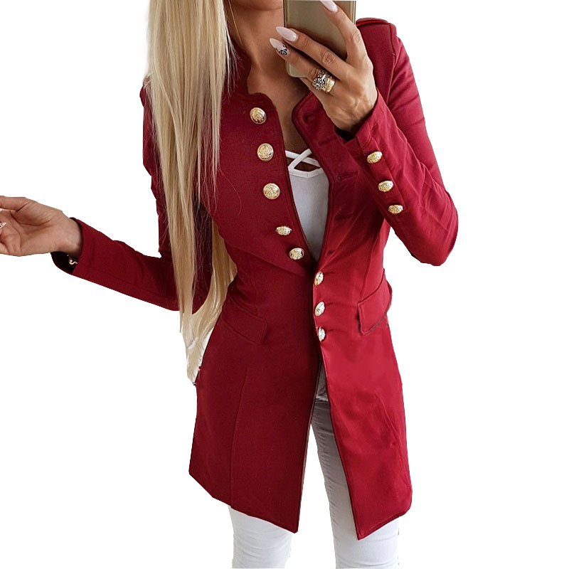 Einreiher Solide Frauen Lange Mantel Büro Insgesamt Frühling Dünne Dünne Jacke Mode Rot Schwarz Botton Hülse Oberbekleidung M0235