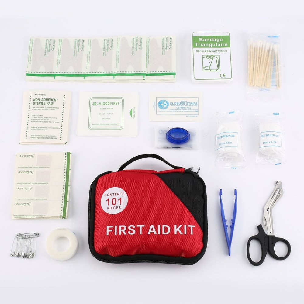 101pcs/set First Aid Kit A-Must-Have Home Outdoor Emergency Treatment Pill Cases Survival Medical Rescue Pouch with Portable Bag