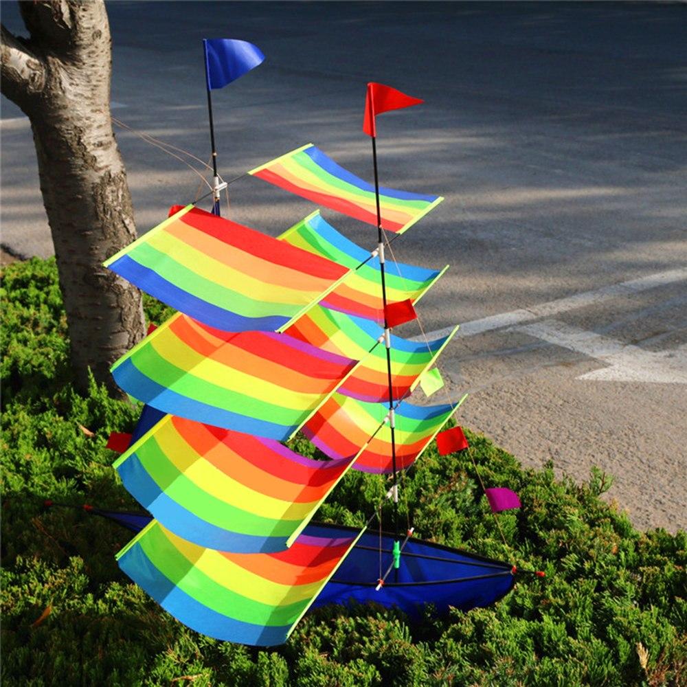 3D voiliers cerf-volant en plein air cerfs-volants jouets volants pour enfants et adultes voile bateau volant cerf-volant avec chaîne poignée Sports de plage en plein air - 3
