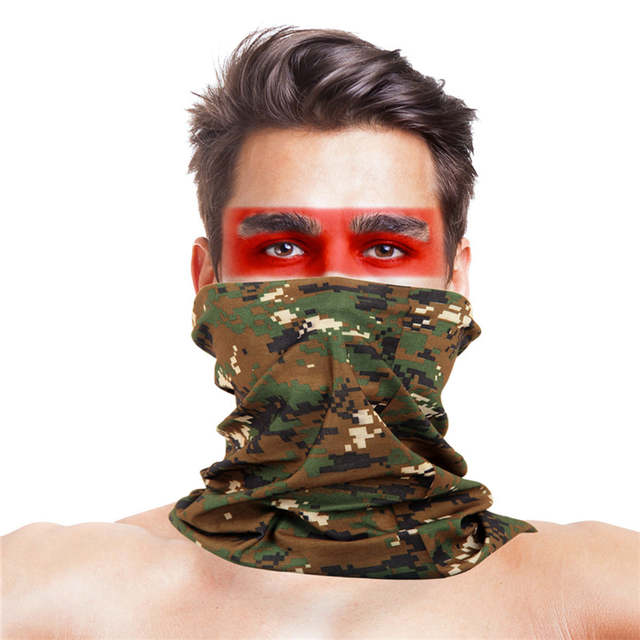 Digital Camouflage Scary Costumes Bandana Bicycle Half Face Mask Headband  Camouflage Military Scary Game Costumes Accessories