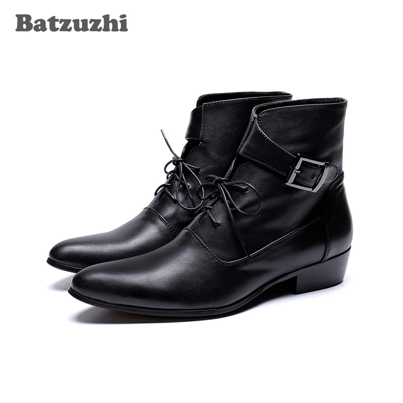 Batzuzhi Handsome Men Boots zapatos de hombre Black Genuine Leather Ankle Short Boots Lace-up Buckles Fashion Boots for Men!Batzuzhi Handsome Men Boots zapatos de hombre Black Genuine Leather Ankle Short Boots Lace-up Buckles Fashion Boots for Men!
